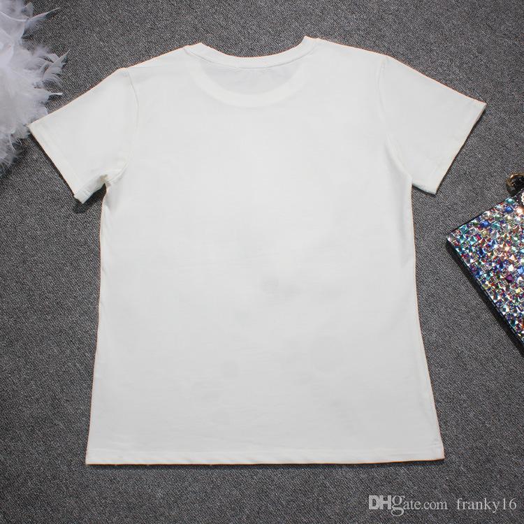 2018 صيف جديد أزياء المرأة عيون كبيرة الترتر ليكرا القطن t-shirt الأوروبي المد العلامة التجارية قصيرة الأكمام بلوزة قميص حجم S-4XL