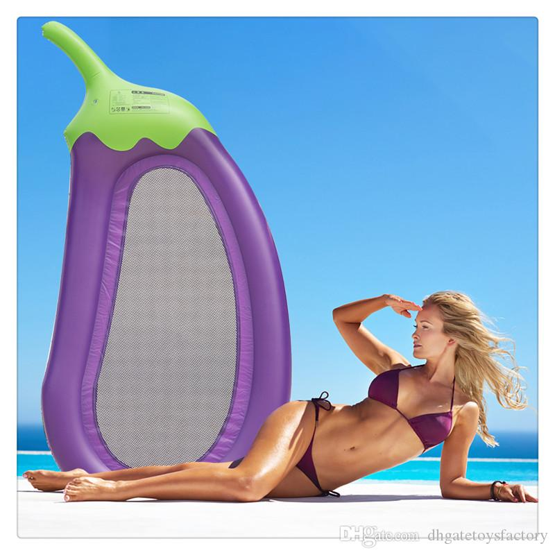 Outdoor Swimming Inflatable Lounge Float Giant Purple Eggplant Pool Floats Water Pool Raft with 3 Cup Holder Interesting