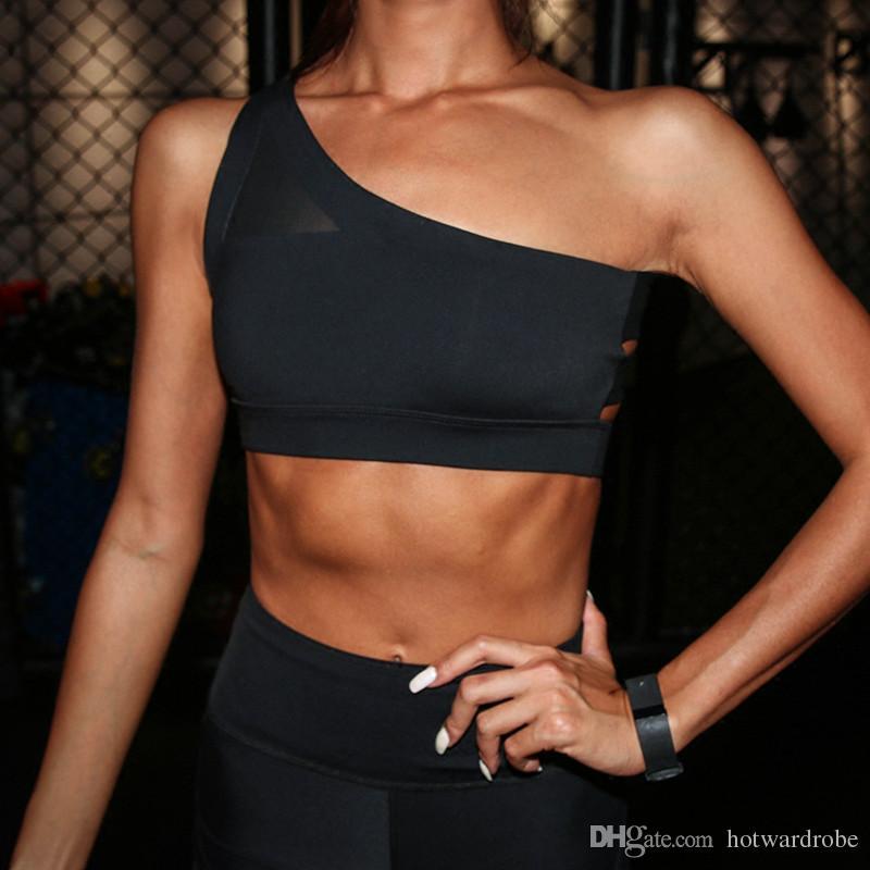 5674c98909f38 2018 New Oblique One Shoulder Strap Women s Sports Bra Hollow out ...