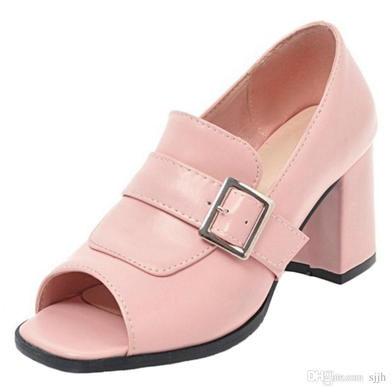 SJJH 2018 Woman Sandals with Peep Toe and Chunky Heel Elegant Style Shoes for Fashion Women with Large Size Available A301