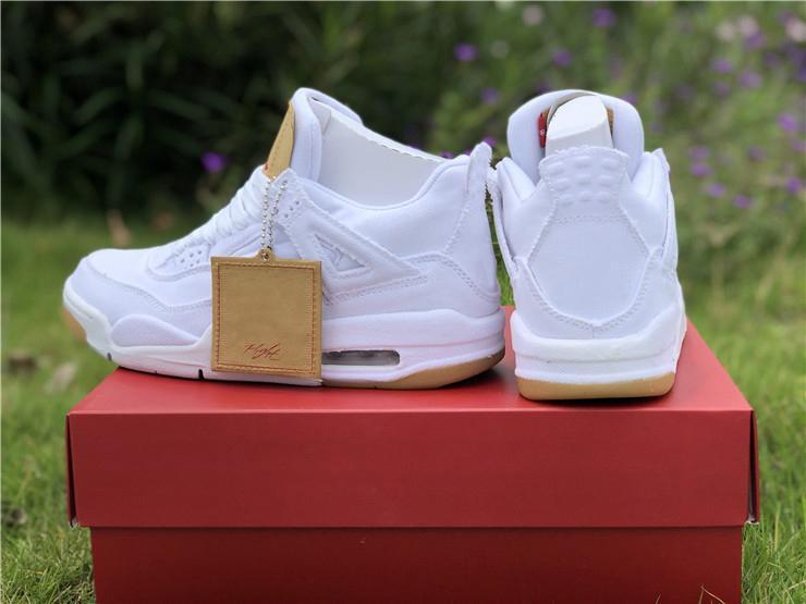 b5476d8a9d09 2019 New Arrival Authentic White Denim LS GS 4 Basketball Shoes For  Men