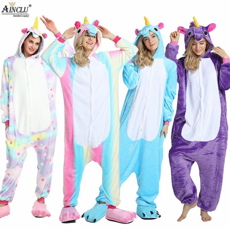 589c9498e8 Compre Unicornio Pijamas Animal Onesie Pijamas Conjunto Ropa De Dormir  Pegasus Cosplay Animal Lindo De Invierno Homewear Para Niña   Niños   Ropa  De Dormir ...