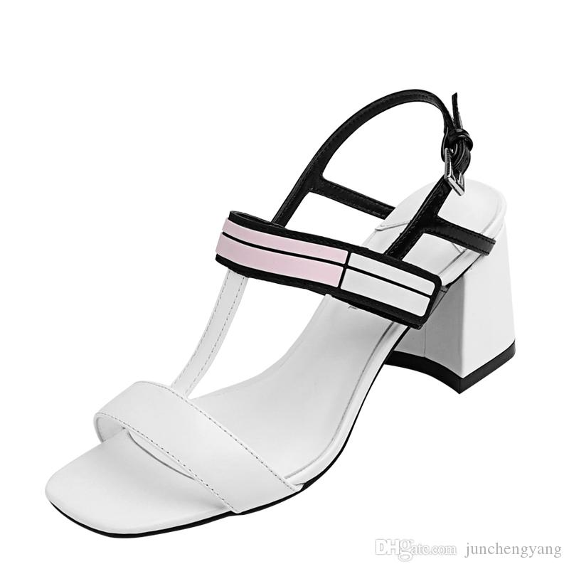 3654a33cbf3 Summer Black And White Mixed Color T Tied Chunky Heel Ladies Sandals One  Word Buckle Square Toe High Heels Sandals Women Comfortable Shoes Discount  Shoes ...