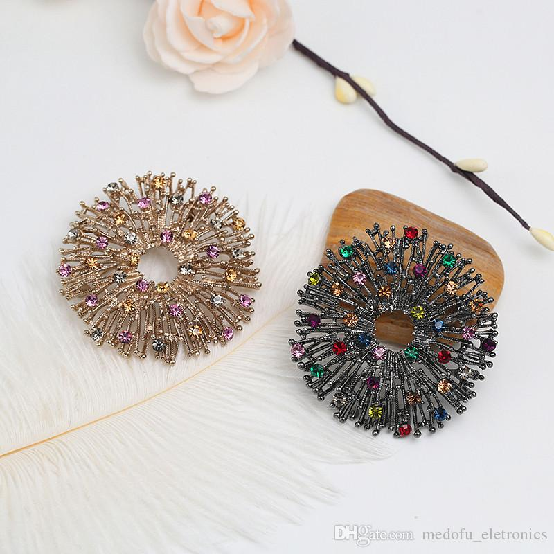 Vintage Men Women Wedding Party Brooches Pins High Quality Gold Plated AAA Colorful Rhinestone Flower Brooches Nice Gift NL-740