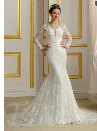 7a220b719246 Acquista Abito Da Sposa In Pizzo Con Scollo A V A Maniche Lunghe A  108.55  Dal Weddingdressdhx88
