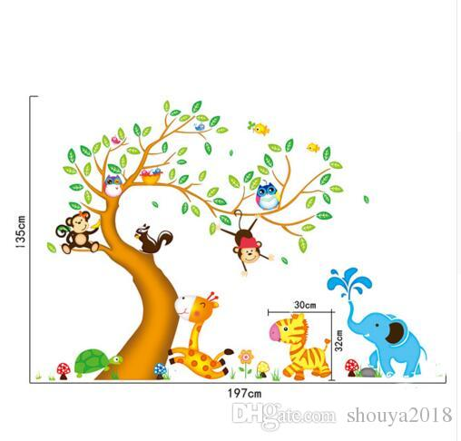 Monkey Owl Animals Tree Cartoon Vinyl Wall stickers for kids rooms Home decor DIY Child Wallpaper Art Decals House Decoration