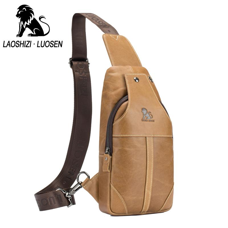 7eaf7ba8438d LAOSHIZI LUOSEN Enuine Leather Men Shoulder Messenger Bag Chest Bags ...