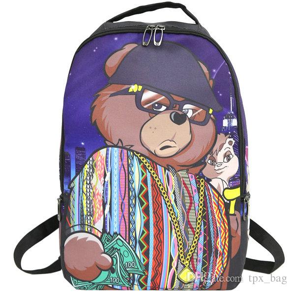 Biggie bear backpack Sprayground cool daypack Street schoolbag Spray ground rucksack Sport school bag Outdoor day pack