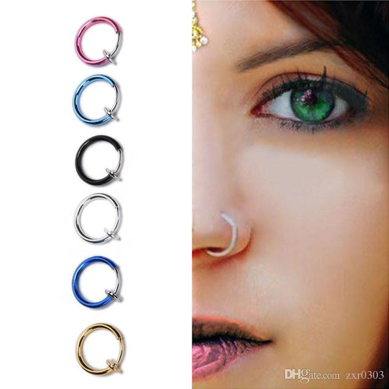 Fake Nose Ring Goth Punk Lip Ear Nose Clip On Fake Septum Piercing Nose Ring Hoop Lip Hoop Rings Earrings