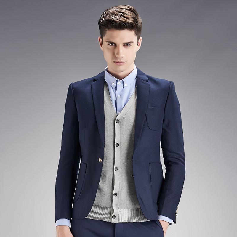 2019 Blue And Black Men Suits Jacket Stylish Simple Bridegroom