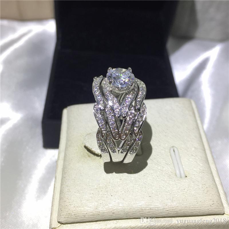 Joyería de moda hecho a mano princesa corte 8 mm Cz 5A circón piedra 10KT oro blanco relleno anillo de la venda de boda Set Sz 5-11