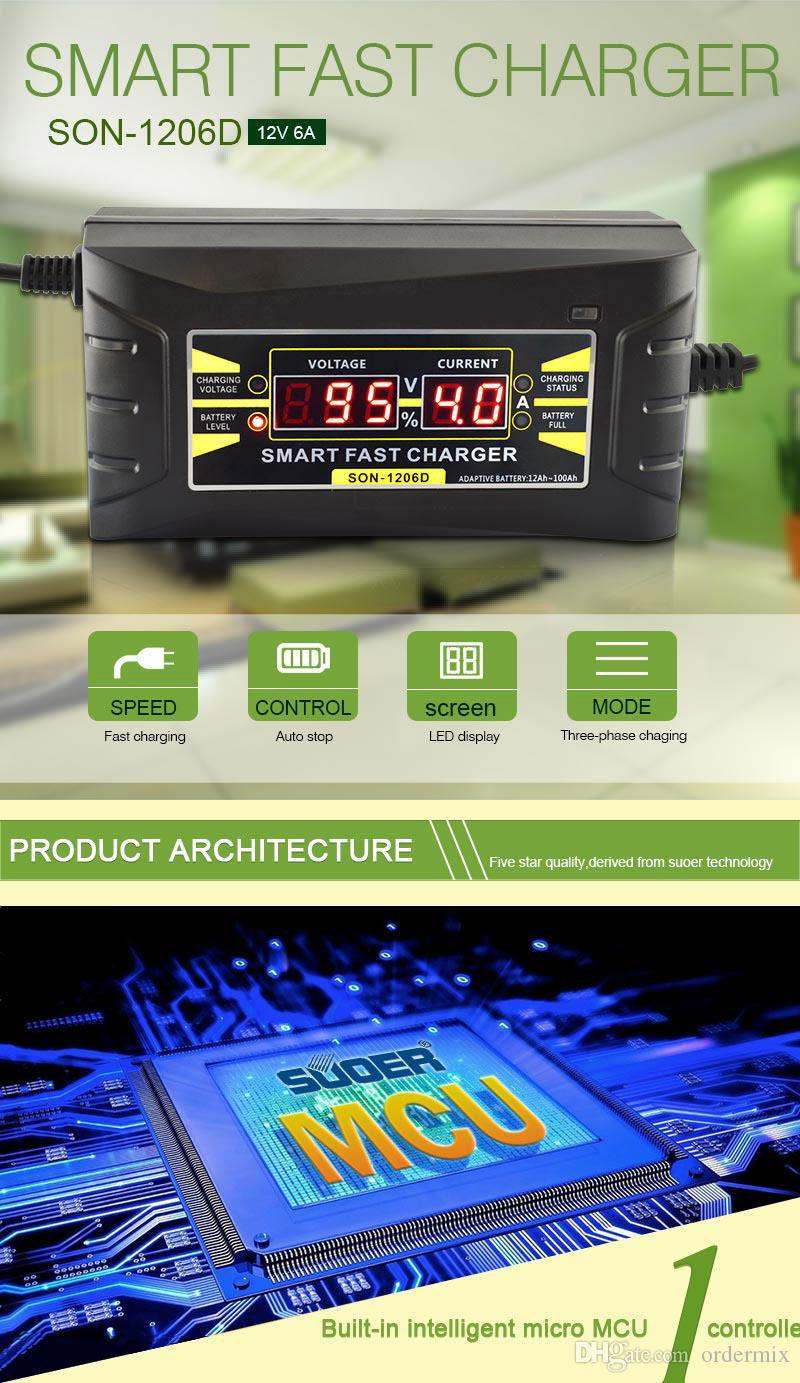 SON-1206D Car Battery Charger Full Automatic 110V to 220V To 12V 6A Intelligent Fast Power Charging Wet Dry Lead Acid Digital LCD Display