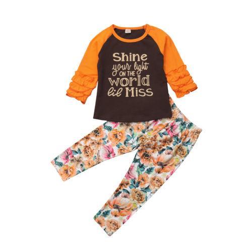 e9a08d682293 2019 Kids Baby Girls Clothes Sets Floral Top T Shirt Long Sleeve ...