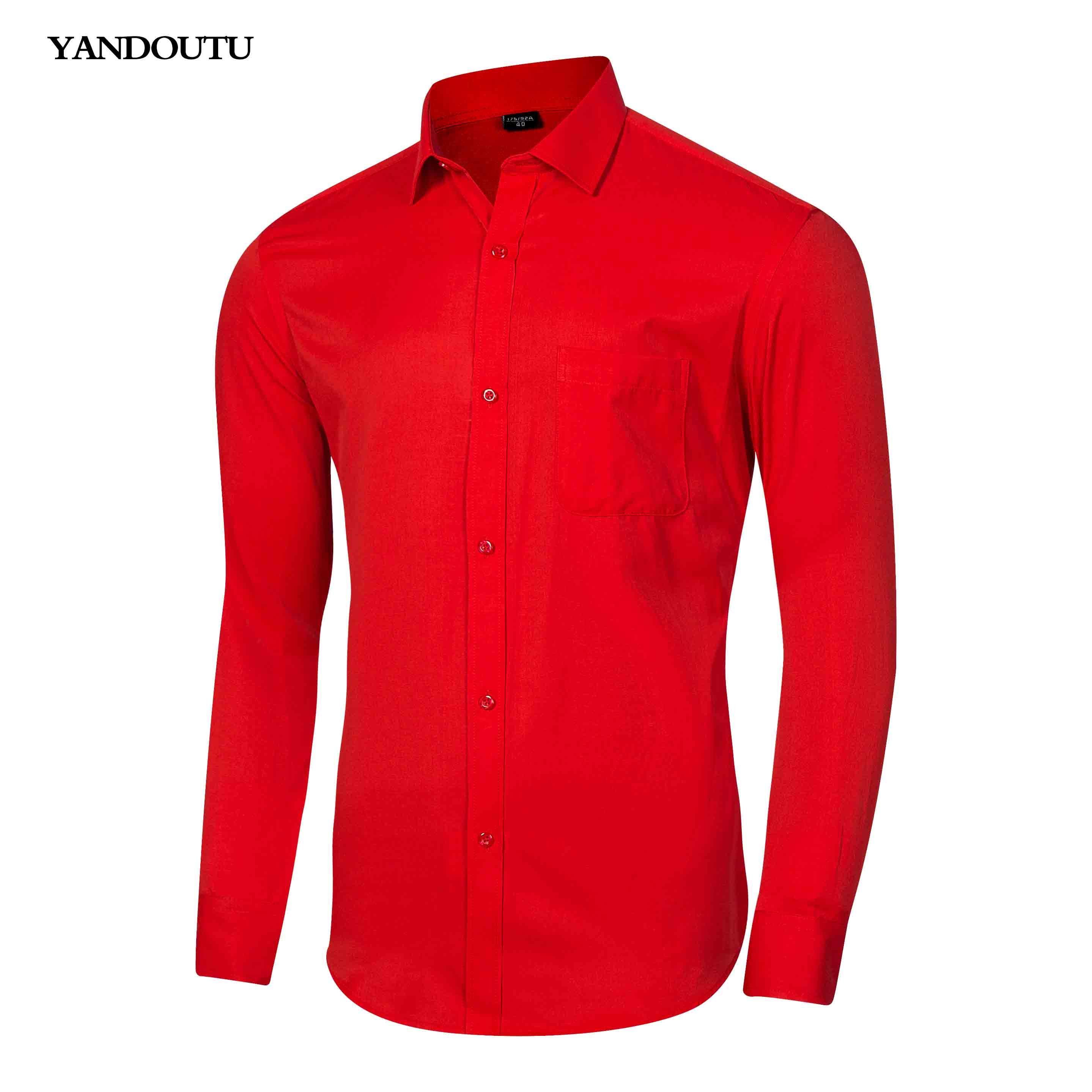 Acquista Vendita All ingrosso Camicia Rossa Camicia Elegante Da Lavoro Abbigliamento  Maschile Camicia Da Lavoro Attillata Camicie Stile Business ... 54a34dd2092