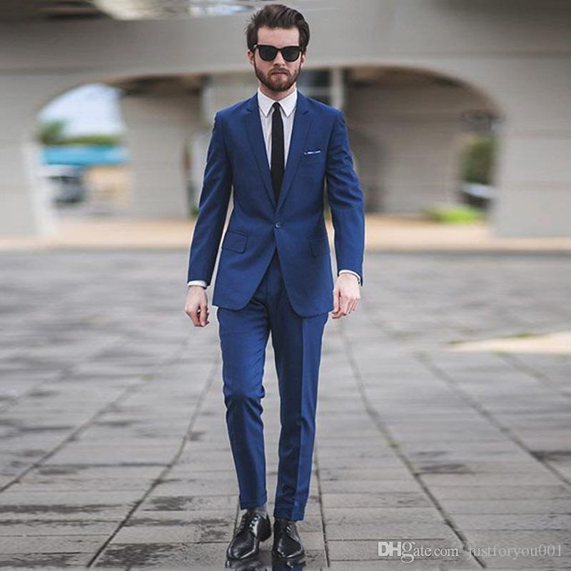 2018 Navy Blue Wedding Suits For Men Slim Fit Best Men Groom Tuxedos