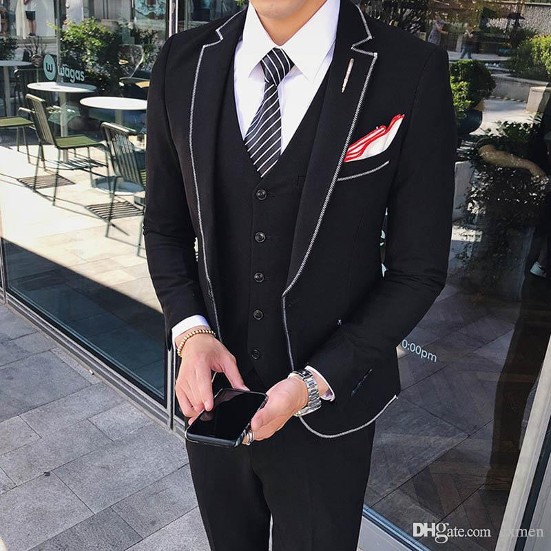 954ee0b974e6 Custom Made Men Suits Black Wedding Suits For Men Outfit Slim Fit Groom  Tuxedo Bridegroom Blazer Jacket Notched Lapel Prom Pants Vest Tuxedos With  Style ...