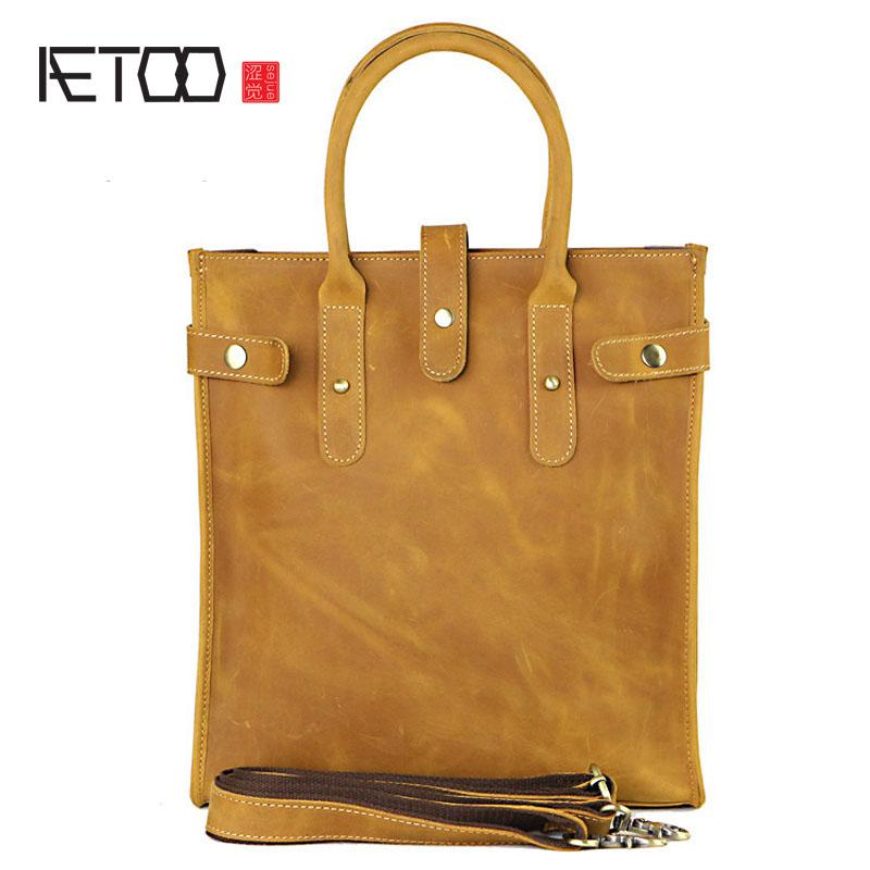 cbc8fca74eec Aetoo Europe And The United States Crazy Horse Skin Men S Handbag Vertical  Section Brief Briefcase First Layer Of Leather Cowboy Weekend Bags For  Women ...