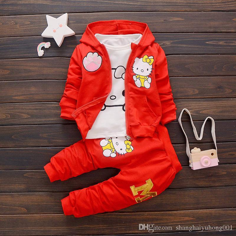 2018 Spring Autumn Baby Boys Girls Cartoon Clothes Fashion Children Hooded Jacket T-shirt Pants 3 Pieces Sets Infant Tracksuits
