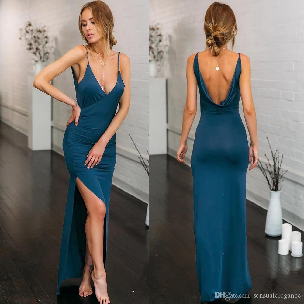 1818b5866f 2018 New Fashion Hot Sexy Casual Dress Sling Open Back High Slit ...