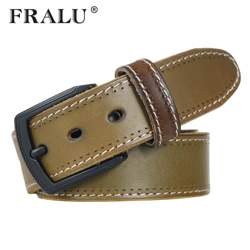 78940076c7d Compre FRALU El Nuevo Top De Cuero De Vaquero Cinturón De Hebilla De Los Hombres  Vintage Lujo Jeans Cinturón De Cuero De Grano Completo Cinturones Cinturón  ...
