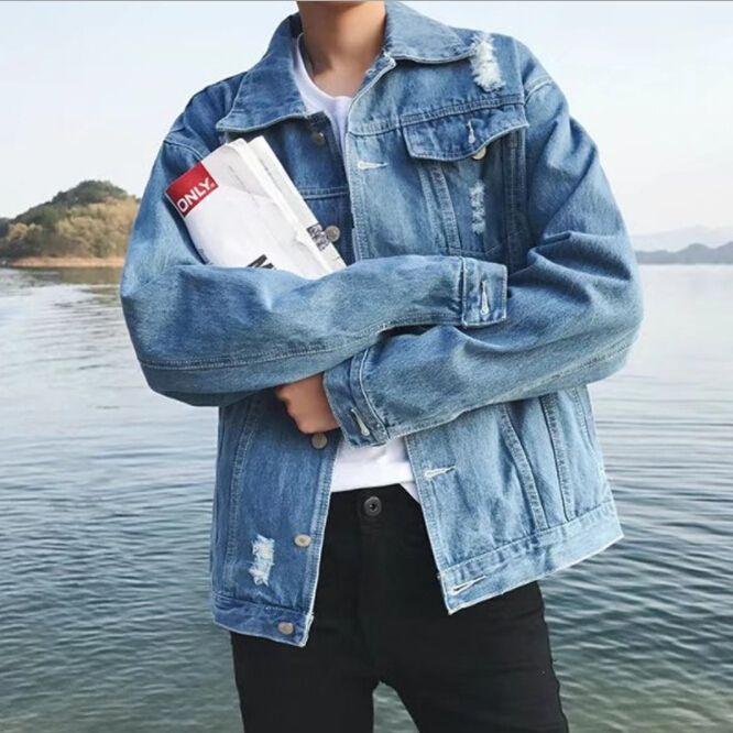 2018 New Arrival Fashion Denim Jacket Man Kpop Streetwear Button