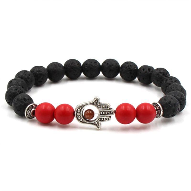 Unisex Casual Lava Rock Beads Hand Bracelet 8mm Alloy Natural Stone Fatima Palm Bangles For Women & Men Gift