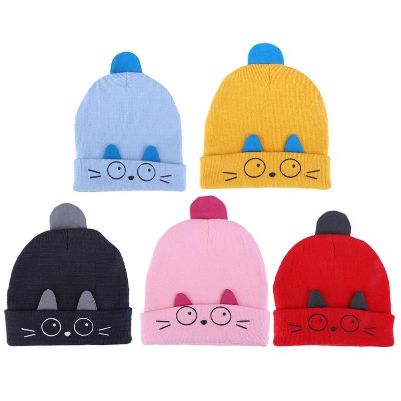 039b82a8df0 2019 Cute Emoji Baby Winter Hat Warm Infant Beanie Cap For Children Boys  Girls Animal Cat Ear Kids Girls Crochet Knitted Hats From Gomo