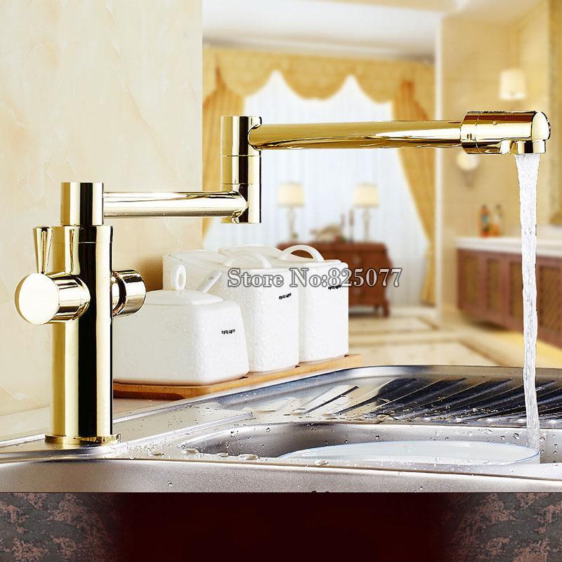 2018 Lead Free Universal Faucet Deck Mount Stretch Folding Kitchen ...