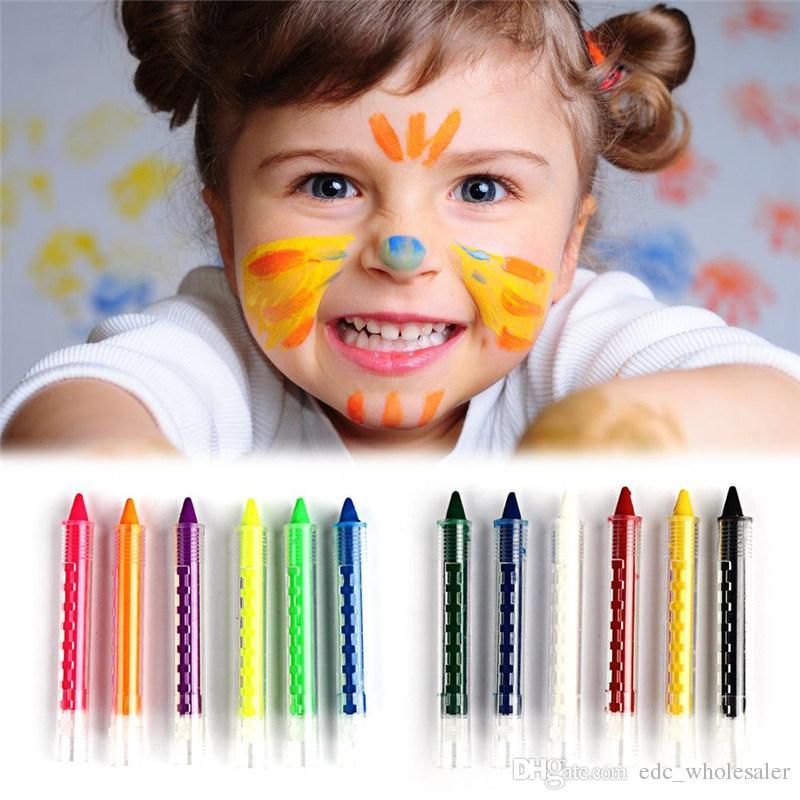 Satın Al 6 Renkler Yüz Boyama Crayon Kalemler Ekleme Yapısı Yüz Boya