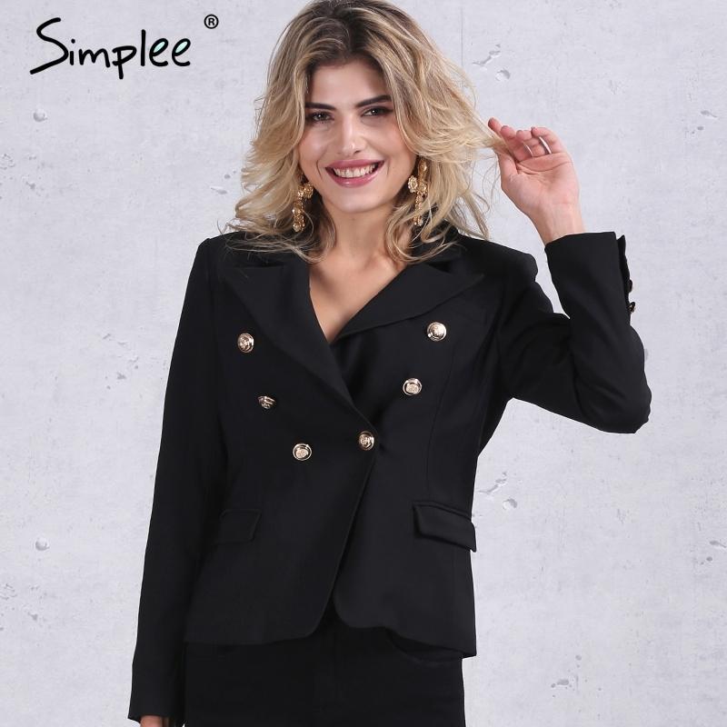 50b984d2dd7 Acheter Simplee Automne OL Blazer Blanc À Double Boutonnage Femme Manteau  Élégant Costume Slim Blazer Noir Cool Hiver Veste Courte Y18110701 De   45.75 Du ...