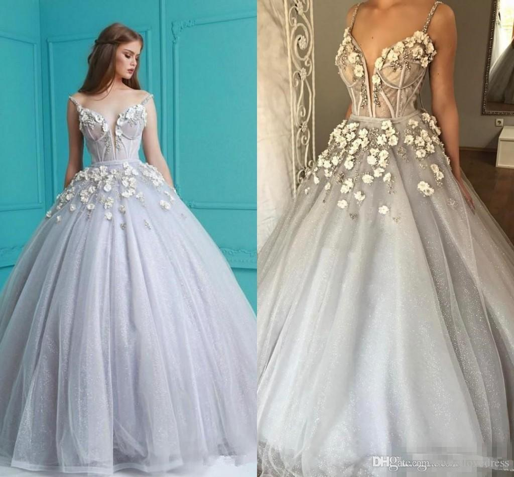 2018 Luxury Dusty Silver 3d Floral Ball Gown Prom Dresses Crystal ...