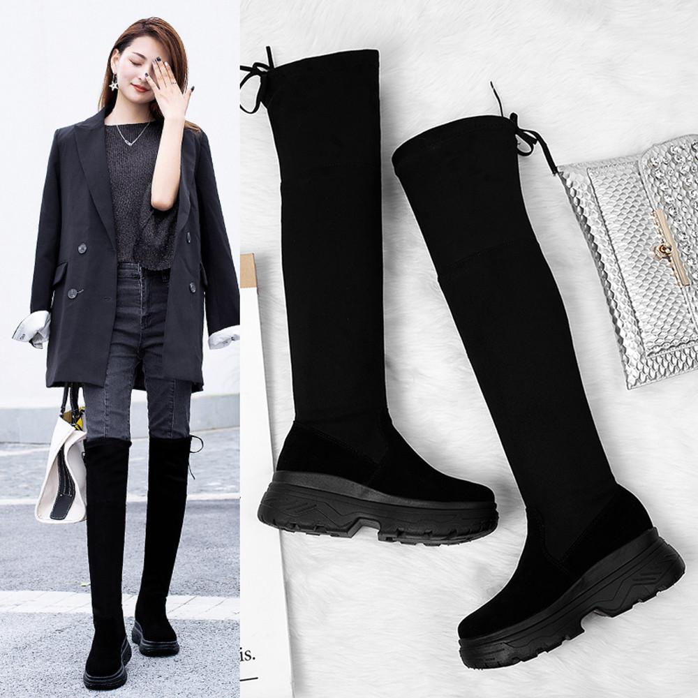 d58b38cc3 Women Knee High Flat Thick Bottom Stretch Skinny Boots Thigh High Boots  Shoes Shoes Knee Female Foot Zapatos De Mujer New Boot Socks Biker Boots  From Nevada ...