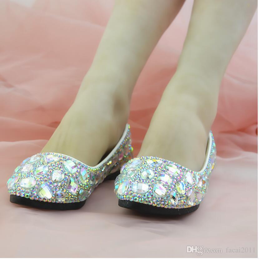 New 2018 Flat White Gem AB Diamond Crystal Shoes Night Club Shoes Artisanal Shoes Women Banquet White High Heel Women's Single
