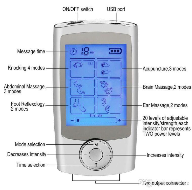 Dispositif de massage corporel de stimulateur de muscle d'électro thérapie de soulagement de la douleur de TENS d'unité de soulagement de la douleur électronique de 16 modes