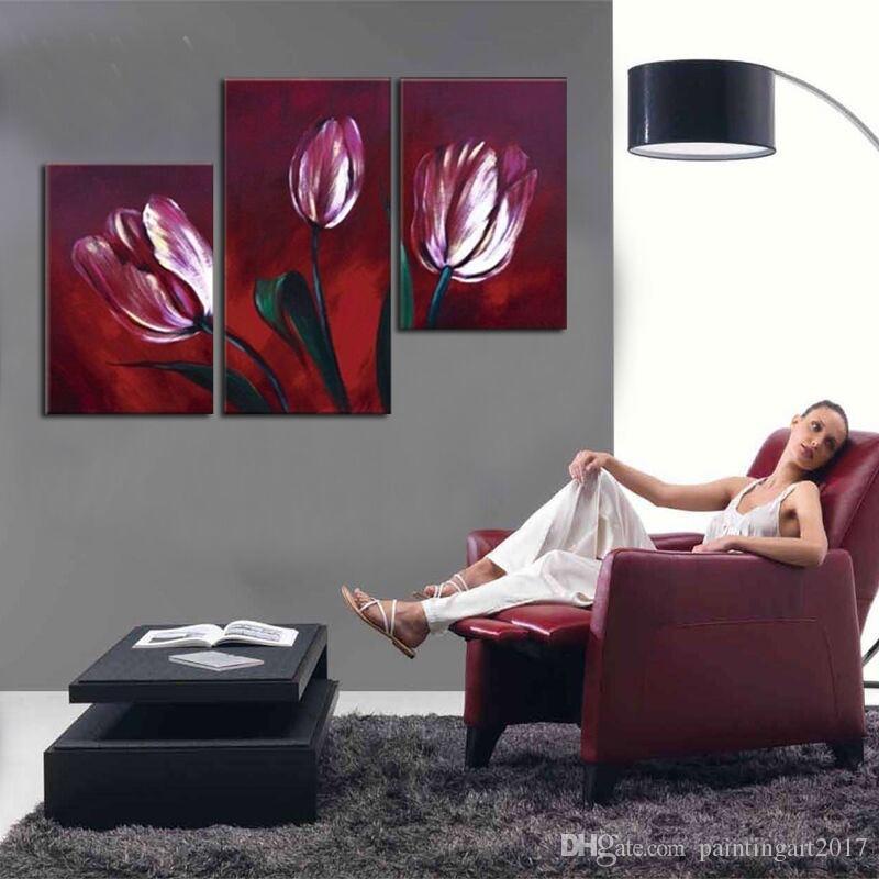 Peint à la main Abstrac fleurs de tulipes rouges peinture à l'huile sur toile à la main peintures florales murales modernes Art 3 images