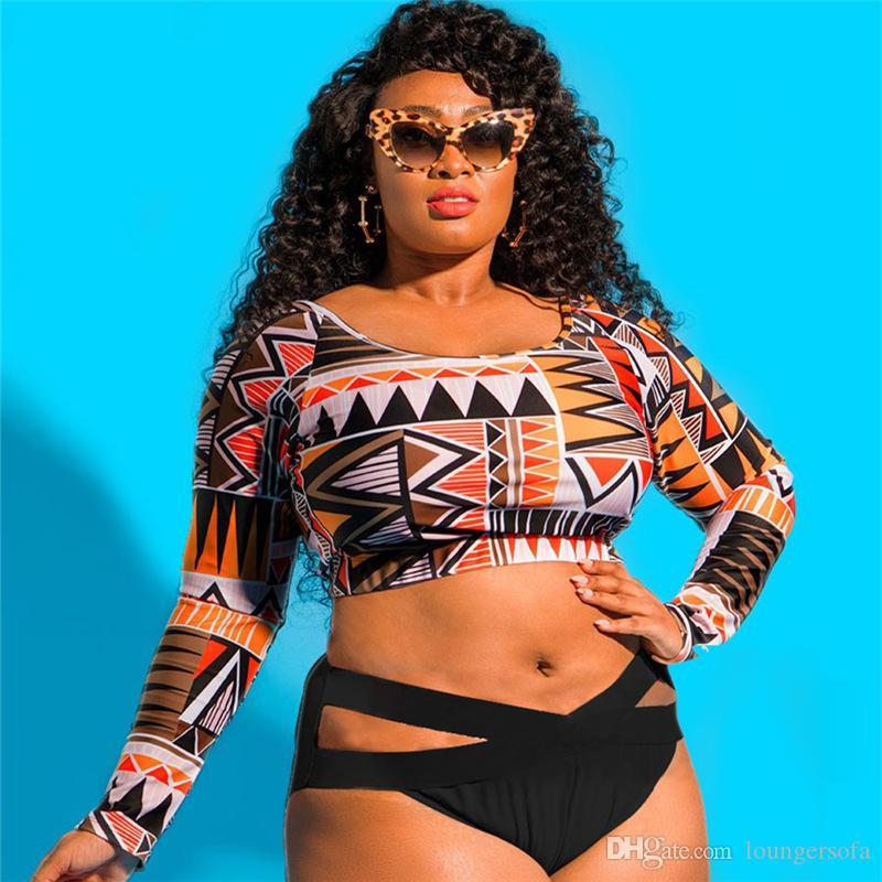 طويلة الأكمام النساء ملابس السباحة الأفريقية طباعة ضمادة بيكيني سيدة monokini زائد حجم قطعة واحدة ملابس المايوه 33sc ث