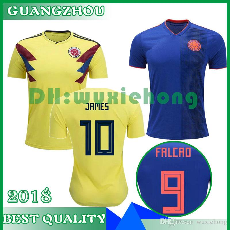 2019 World Cup 2018 Colombia Soccer Jersey  10 JAMES Top Thai Quality Home  Yellow Away Blue Nation Football Shirt Jerseys 9 FALCAO Uniform Sales From  ... e7e883b3d