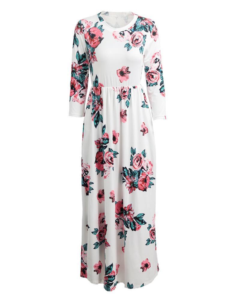 8e3c5672b1a1 Women Boho Floral Print Maxi Dress O Neck 3 4 Sleeve Pocket Summer ...