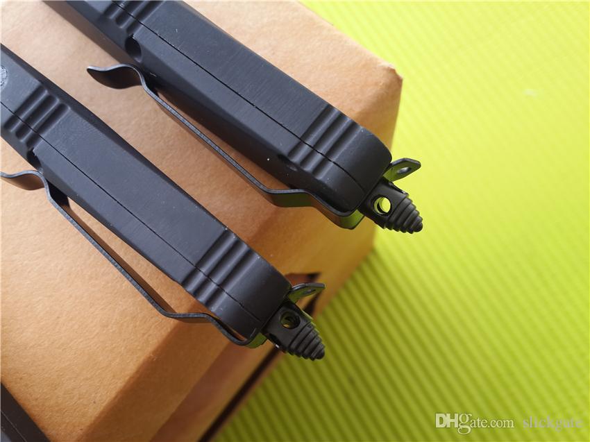 Piccolo A07 Combattimento D / A Coltelli tattici automatici Lama in acciaio 440C a due tonalità, mini coltello da tasca con guaina in nylon da 7 pollici