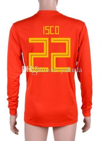 ed95f06eb5c 2019 Customized New Mens 18 19 Home Red 22 Isco Long Sleeves Thai Quality  Soccer Jersey,20 Asensio 19 Rodrigo 15 Ramos 3 Piqué 8 Koke Soccer Wear  From ...