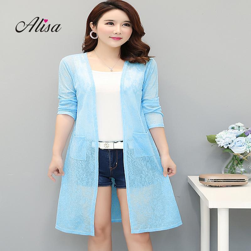 07c845fd0f721 Women Summer Long Sleeve Thin Jacket Oversize Solid Lace Medium Long Open  Stitch Big Size 4xl Female Casual Net Yarn Shawl Coat Leather Jacket With  Fur ...