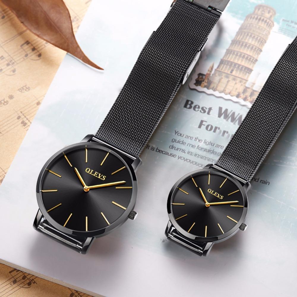 d66ded56560 Compre Olevs Relógio Masculino Das Mulheres De Aço De Milão Cinto De Couro  Genuíno Ultra Fino 6.5mm Japão Movimento Relógio De Quartzo Moda Simples  Relógio ...