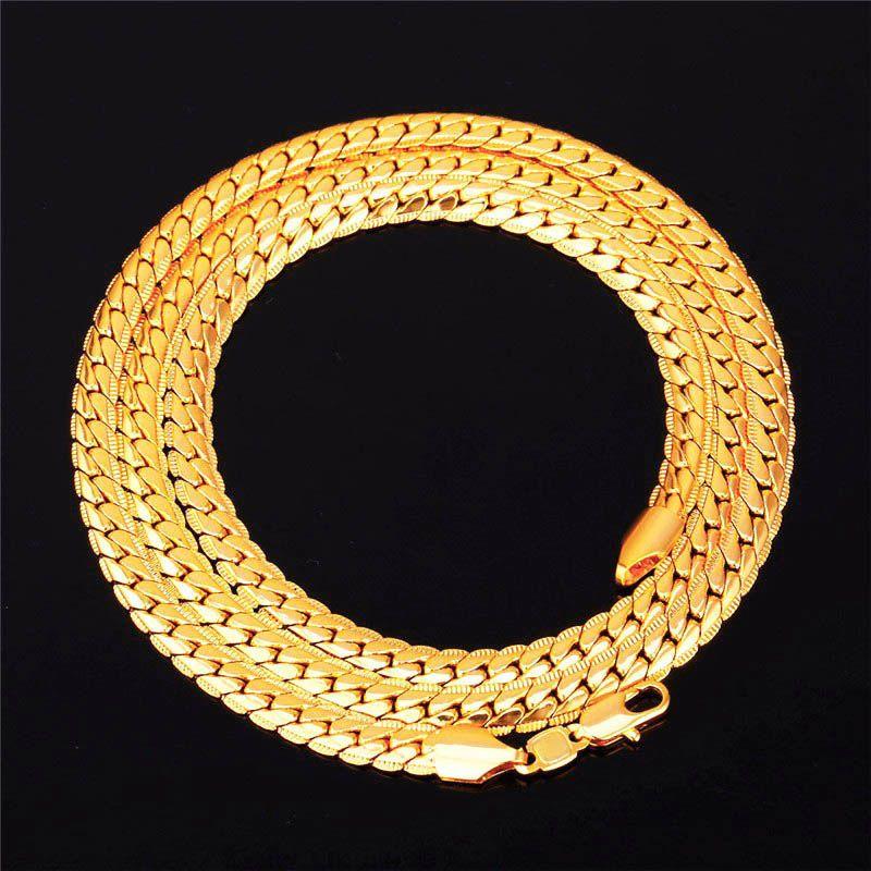 Schlangen-Choker / langkettige Halskette 18K gelbes Gold gefüllt Schmuck Großhandel 2MM / 5MM / 7MM Geschenk für Männer kubanischen Link Kette HipHop Kostenloser Versand