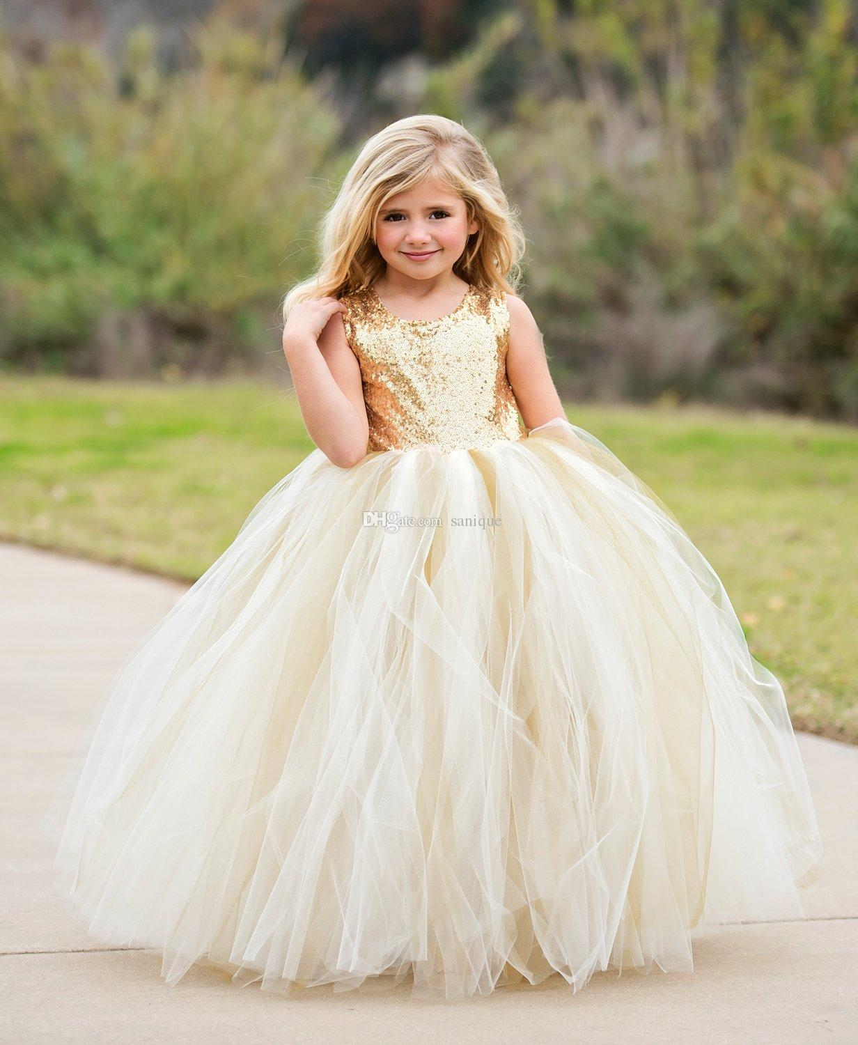 2018 High Quality Flower Girls Dresses Sparkly Gold Sequins Ivory ...