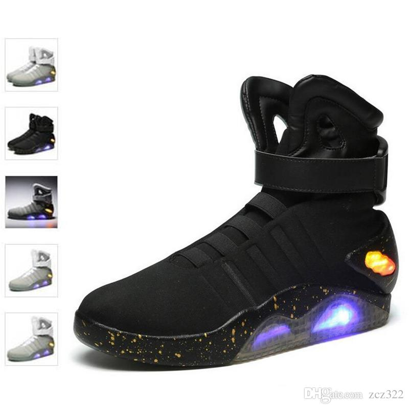 6cbf81ccc47e Air Mag Sneakers Marty McFly S LED Shoes Back To The Future Glow In The Dark  Gray Black Mag Marty McFlys Sneakers With Box Top Quality Walking Shoes  Flat ...
