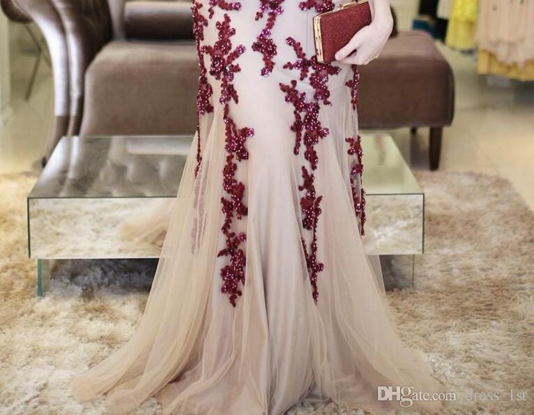 2018 apliques de encaje rojo oscuro sirena vestidos de baile Champagne Tulle ilusión Volver vestidos de noche largos formales por encargo EN20711