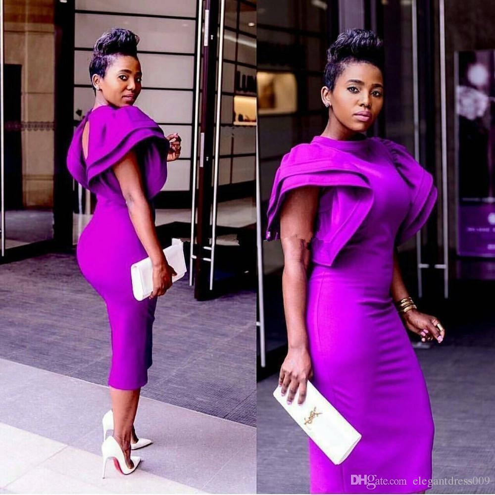 African Purple Sheath Sexy 2018 Cocktail Dresses Cascading Ruffles Tea Length Tea Length Party Evening Dresses Short Prom Gowns