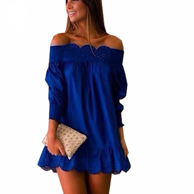 65a78a5e89 2019 Women Off Shoulder Party Dresses Blue Women Casual Loose Dress Ruffle  Sleeve Mini Strpless Dress Plus Size