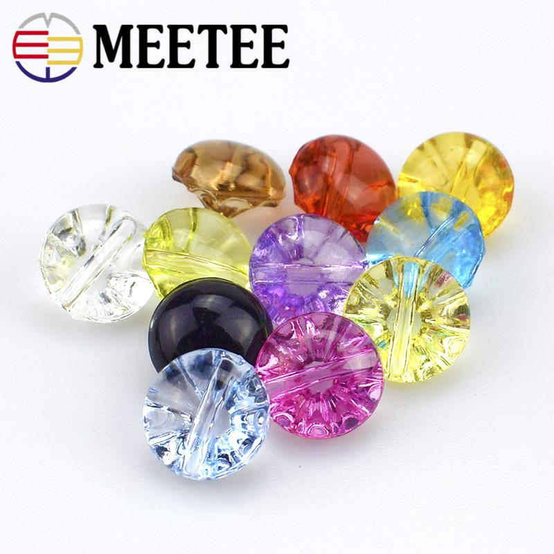 Meetee 50Pcs Colorful Shirt Button Wholesale Crystal Candy Transparent Flower Buttons Children Buttons12mm Colorful Shirt Buttons