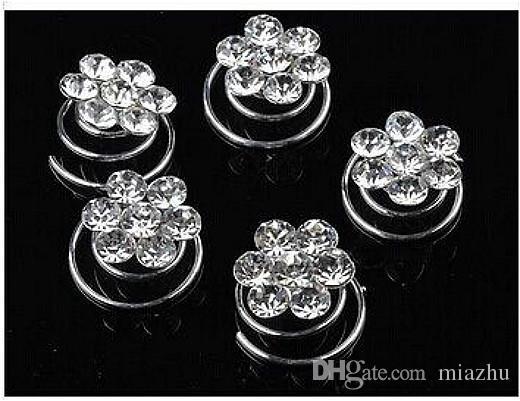 Atacado Mix Casamento Nupcial De Cristal Pérola Redonda Torção Cabelo Pin Spin Pins Para As Mulheres Jóias